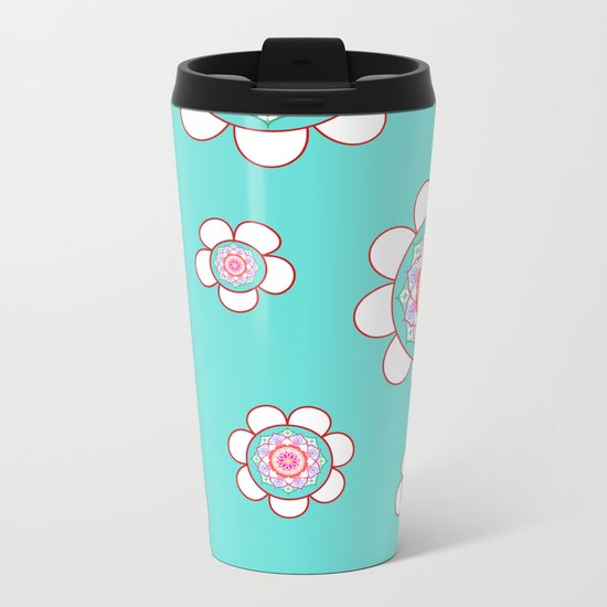 Mandala Flowers Pattern Blue Pink Metal Travel Mug