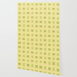 Mid Century Modern Patterned Lines (Lime) Wallpaper