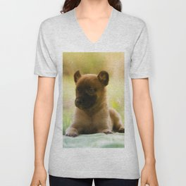 Malinois puppies in the soap blowing game Unisex V-Neck