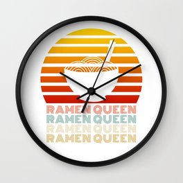 Ramen Queen Japanese Noodles Vintage Retro Style Japan Wall Clock