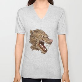 Head with sharp teeth Unisex V-Neck