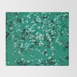 Emerald Glitter Stars #1 #shiny #decor #art #society6 Throw Blanket