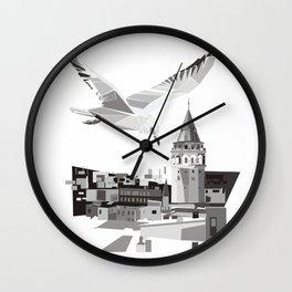 Galata tower & seagull  Wall Clock