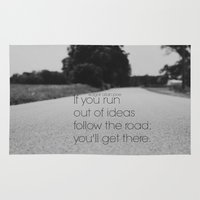 edgar allan poe Area & Throw Rugs featuring Follow the Road Edgar Allan Poe by KimberosePhotography