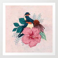 Barn Swallows Art Print