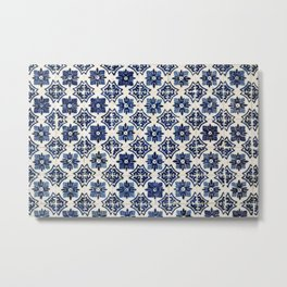 Vintage Blue Ceramic Tiles Metal Print