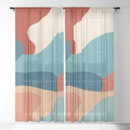 Colorful abstract composition Sheer Curtain