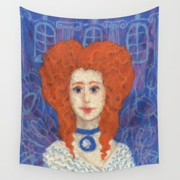 Red Hair, ginger lady, rococo haircut, felt painting, fiber art Wall Tapestry
