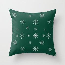 Christmas season forest green white snowflakes pattern Throw Pillow