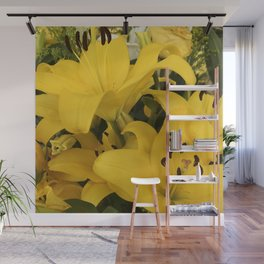 Bright Yellow Lilies From A Tropical Garden Wall Mural
