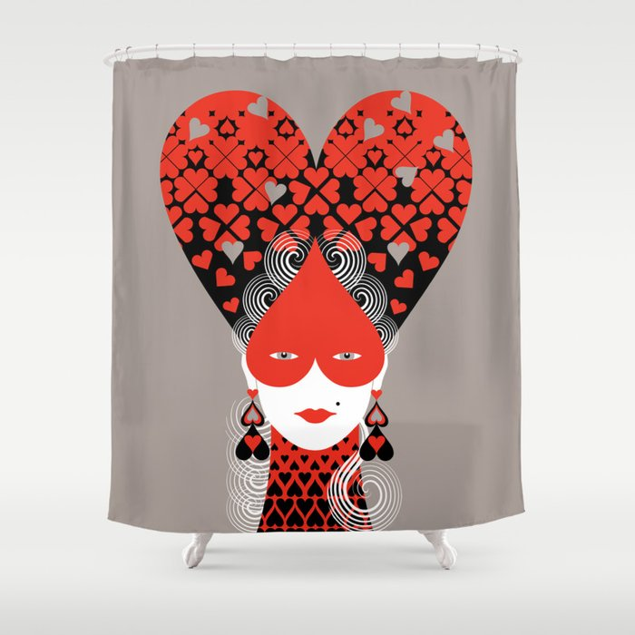 The Queen Of Hearts Shower Curtain By Balbussotwins