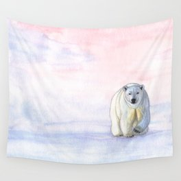 Polar bear in the icy dawn Wall Tapestry