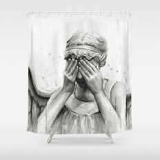 Weeping Angel Watercolor Painting Shower Curtain