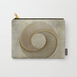 Geometrical Line Art Circle Distressed Gold Carry-All Pouch