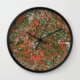 Green Hawaiian Ancient Pattern Red Wall Clock