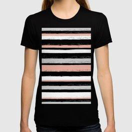 Stripes - Peach Grey Black White T-shirt