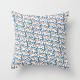 Skating Trendy Rainbow Text Pattern (Blue) Throw Pillow