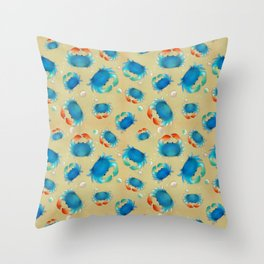 Blue Crabs on the Beach Throw Pillow