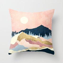 Coral Sunset Throw Pillow