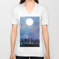 luna V-neck T-shirts featuring Luna by Jo Cheung Illustration