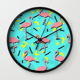 Flamingos Memphis #society6 #decor #buyart Wall Clock