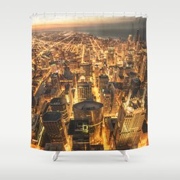 chicago aerial view Shower Curtain
