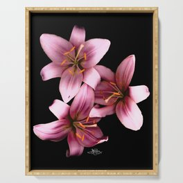 Pretty Pink Ant Lilies, Flowers Scanography Serving Tray