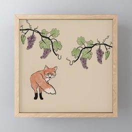 Fox Stealing Grapes Framed Mini Art Print