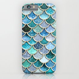 Multicolor Aqua Mermaid Scales - Beautiful Abstract Glitter Pattern iPhone Case