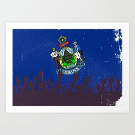 Maine State Flag with Audience Art Print