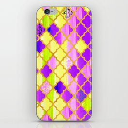 Moroccan Tile Pattern In Purple And Yellow iPhone Skin