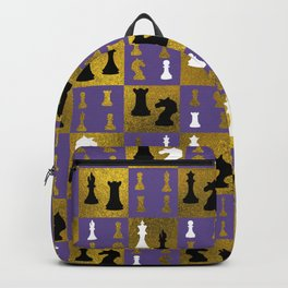 Violet Chessboard and Chess Pieces pattern Backpack