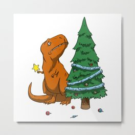 The Struggle Dinosaur In Merry Christmas Metal Print