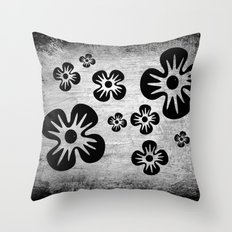 Black Flowers Throw Pillow