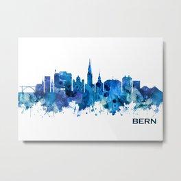 Bern Switzerland Skyline Blue Metal Print