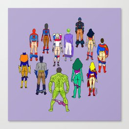 Superhero Butts - Power Couple on Violet Canvas Print