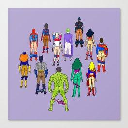 Superhero Butts - Power Couple on Violet Canvas Print