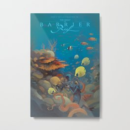 Retro Great Barrier Reef Australia Travel Poster Metal Print
