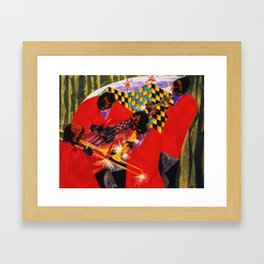 African American Masterpiece 'Village Quartet' by Jacob Lawrence Framed Art Print