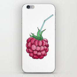 red raspberries with a cocktail straw . illustration iPhone Skin