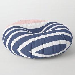 Cheerful Striped Pattern in Navy Blue, Pink, and White Floor Pillow