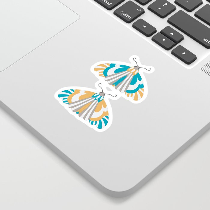 Moths - Blue and Orange Sticker by ARTette Noir