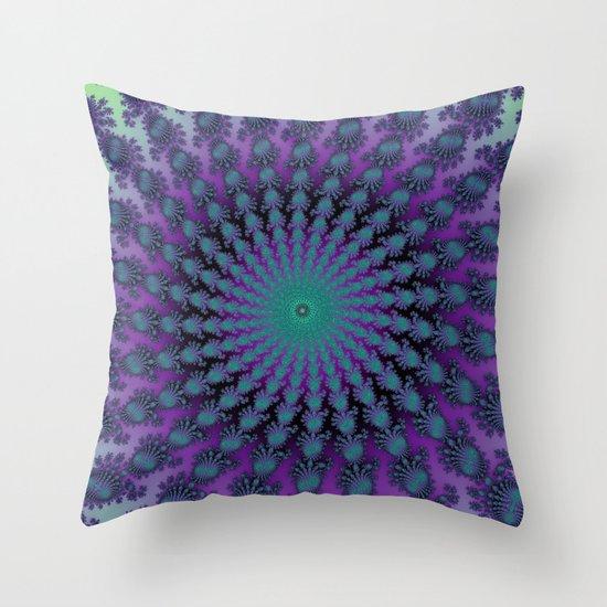 Cool Hued Purple Blue Braided Rug Fractal Throw Pillow