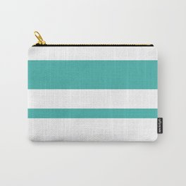 Mixed Horizontal Stripes - White and Verdigris Carry-All Pouch