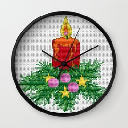 Christmas Candle Cross Stitch Wall Clock