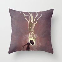 thor Throw Pillows featuring Thor by Duke Dastardly
