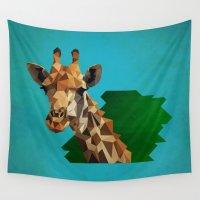 giraffe Wall Tapestries featuring giraffe by gazonula