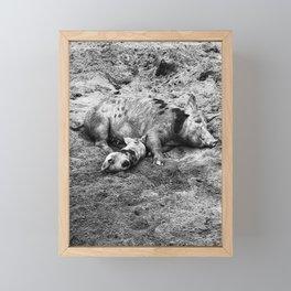 Mama and her Piglet Black & White Framed Mini Art Print
