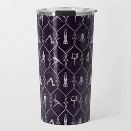 Pearl Yoga Asanas pattern on amethyst Travel Mug
