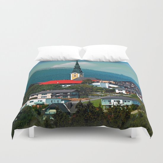 A village in autumn season Duvet Cover